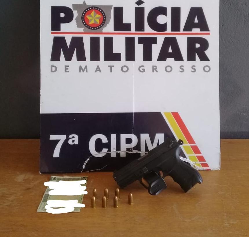 Jaciara (MT): PM flagra condutor com pistola 380 em rodovia no interior