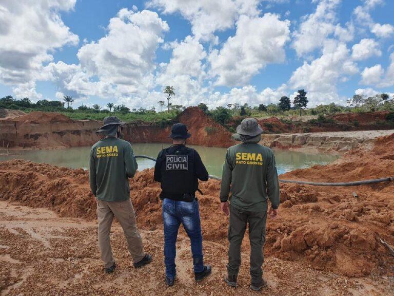 SEMA de Alta Floresta (MT) multa e embarga áreas de desmatamento ilegal, garimpos e posto de gasolina em Apiacás e região