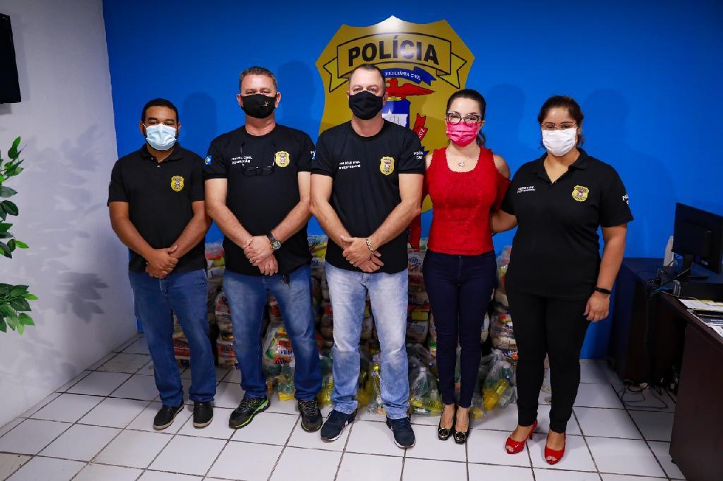 Primeira-dama entrega 800 cestas básicas que serão distribuídas pela Polícia Civil de MT no interior do estado